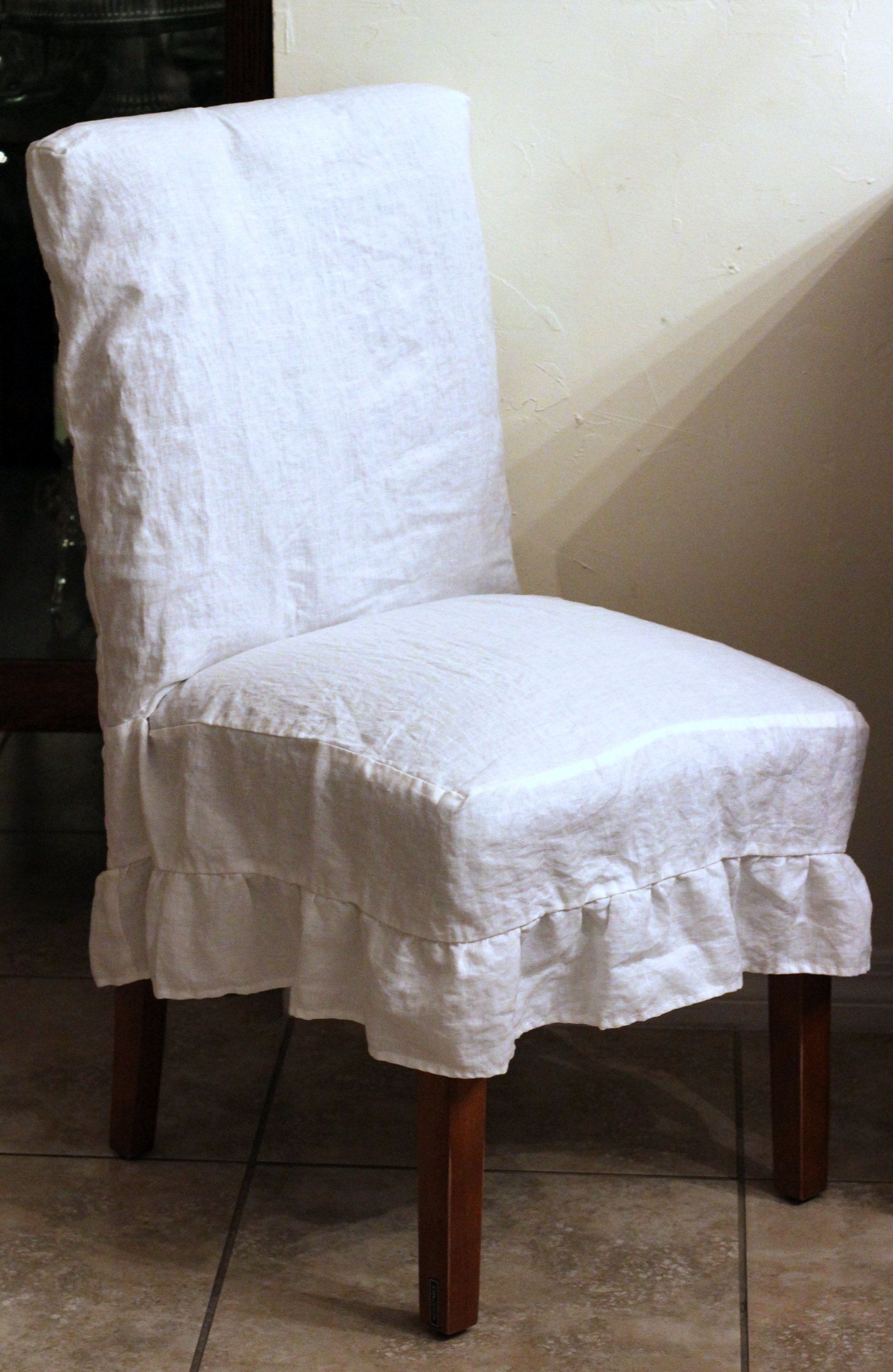 Parson Chair Cover In Flax Linen Off White