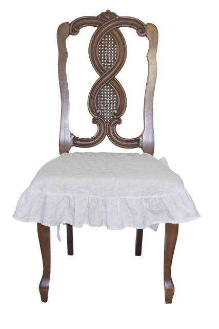 French Country Linen Chair Seat Slipcover With Ruffle